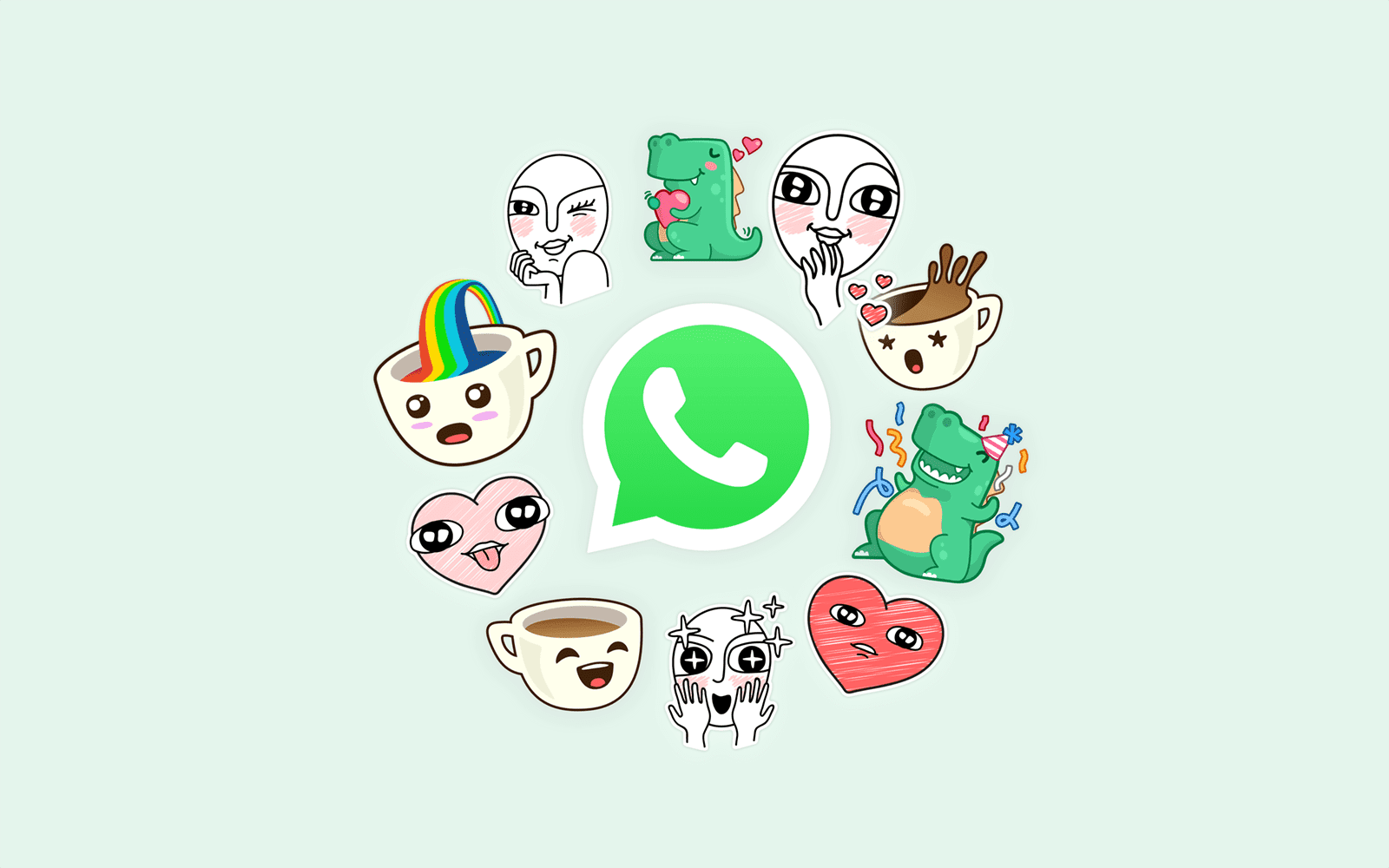 whatsapp logo with stickers