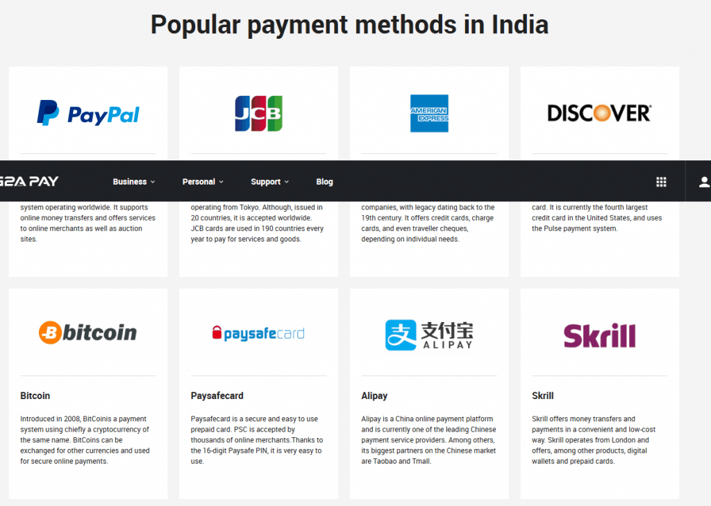 G2A supported payment methods in India