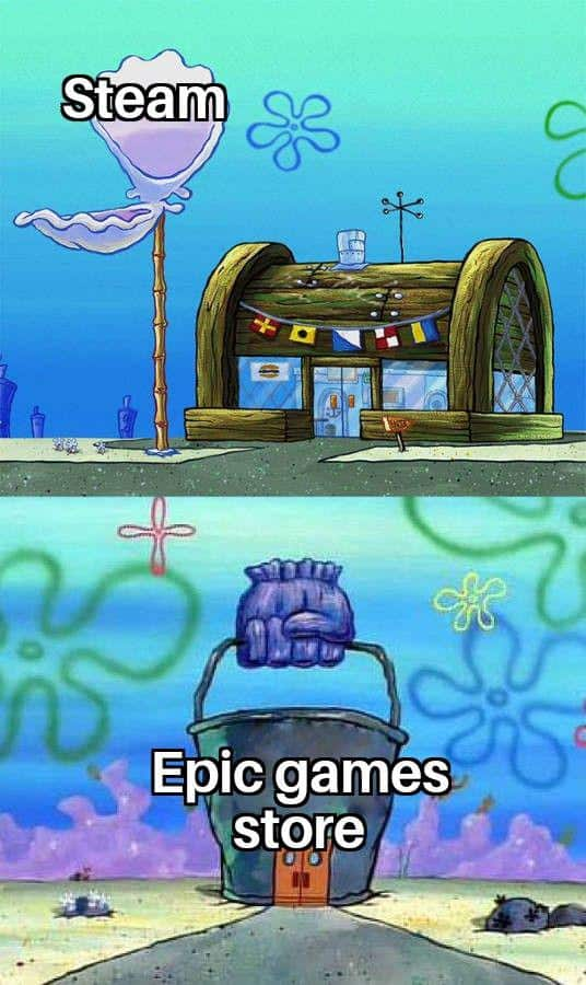 Steam vs Epic game store krusty crab meme