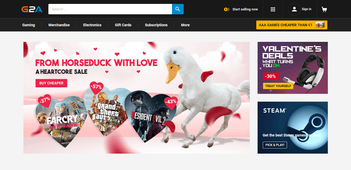 G2A digital marketplace for game codes