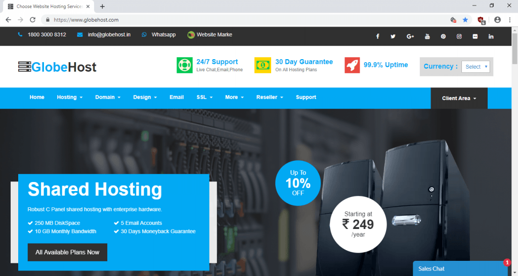 Globehost | Cheapest hosting services in India