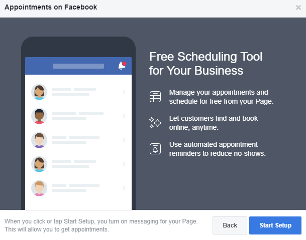 Setting up appointments on your Facebook page